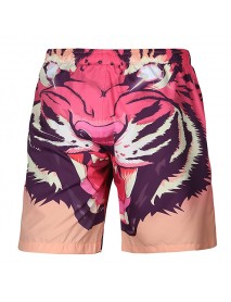 3D Tiger Printing Pattern Casual Beach Quick Drying Board Shorts for Men