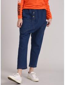 L-5XL Denim Elastic Waist Baggy Harem Pants with Pockets