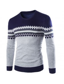 Ethnic Style Stripe Printed Color Block Pullovers Sweaters for Men