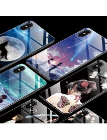 Bakeey Fashion Pattern Tempered Glass Protective Case For iPhone XS