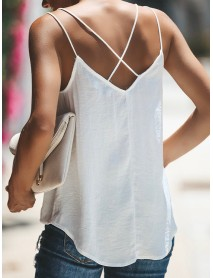 Lace Patchwork V Neck Spaghetti Sleeveless Tank Tops