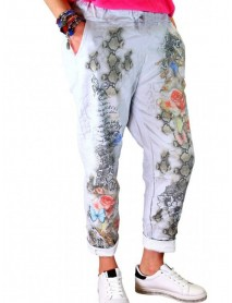 Casual Print Elastic Waist Plus Size Pants with Pockets
