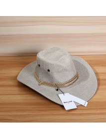 Bang good Unisex Men Women Western Cowboy Hat Outdoor Wide Brim Linen Hat with Strap