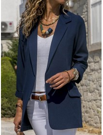 Women Autumn Long Sleeve Office Casual Fit Turn-Down Collar Blazers