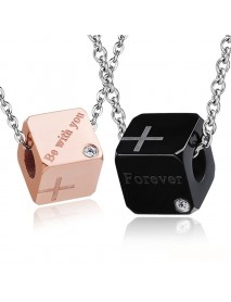 1 Pair Stainless Steel Lover Couple Necklace Sweet Cubic Pendant Jewelry Gift