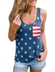 American Independence Day Flag Printed Loose Women Casual Tank Tops
