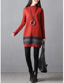 Casual Women Stripe High Collar Sweater