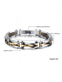 Diamond-shaped Intermetallic Gold Single-chain Titanium Steel Bracelet