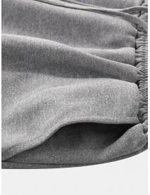 Men Casual Beach Elastic Waist Solid Color Print Patchwork Pocket Shorts