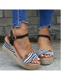 Women Leopard Peep Toe Espadrille Platform Wedges Sandals