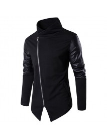 Asymmetric Tilt Inclined Zipper Placket Splicing Leather Sleeve Stand Collar Stylish Jacket for Men
