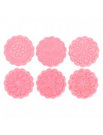 Round Mooncake Cake Baking Mold Mould 6 Stamps Fower Moon Cake Baking Tools Decor