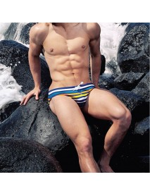 Colorful Stripe Triangle Drawstring Mens Swimming Trunks