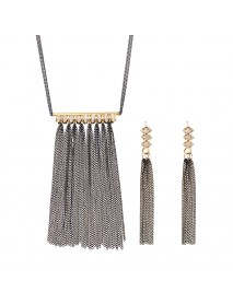 JASSY 18K Gold Plated Crystal Jewelry Set Punk Tassel Pendant Necklace Earrings for Women Gift