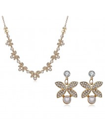 Elegant Crystal Earrings Rhinestones Pearls Flower Necklace Jewelry Set Women Gift