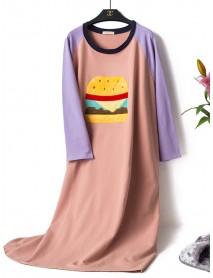 Cotton Cartoon Pattern Round Neck Long Sleeve Nightgown