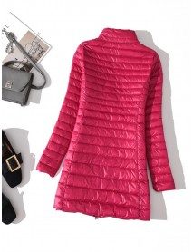 Casual Loose Pure Color Stand Collar Long Sleeve Light Down Coats