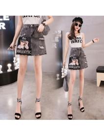 Denim Short Skirt Season High Waist Smoke Gray Lace Stitching Set Diamond A Word Bag Hip Skirt Female