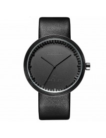 CRRJU 2125 Casual Style Chronograph Men Watch Leather Strap Clock Quartz Watches