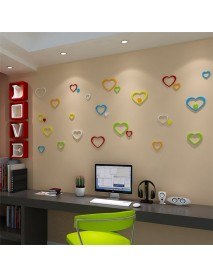 5Pcs 10 Colors DIY Heart Shape Wall Stickers Decal Acrylic Home Wall Door Bedroom Decor