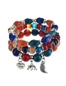 Bohemian Multilayer Tassel Beaded Bracelet Ethnic Wings Elephant Heart Colorful Pendant Bracelet
