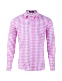Autumn Plaid Male Fit Turn-down Collar Long Sleeve Shirts