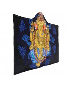 Hooded Throw Blankets Indian Ganesha Wearable Soft Warm Sleeping Sofa Bed Cover