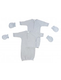 Preemie Boys Gowns and MIttens