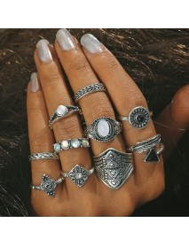 10 Pcs Women Vintage Gift Ring Set Rhinestones Gem Knuckle Rings Jewelry