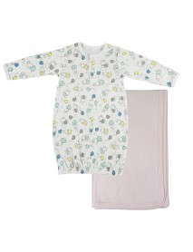 Bambini Print Infant Gown and Recieving Blanket