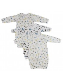 Bambini Girls Print Infant Gowns - 3 Pack