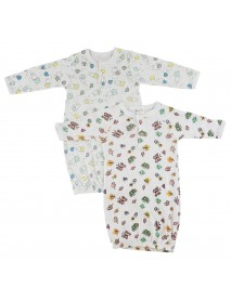Bambini Girls Print Infant Gowns - 2 Pack