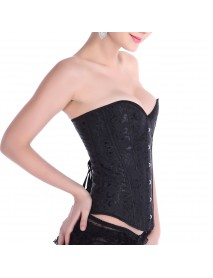 Floral Steel Boned Lace Up Back For Cinching Waist Cincher Corset