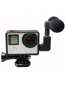 External Microphone with Mic Adapter Standard Frame Kit Fit for GoPro Hero 4 3 Plus 3