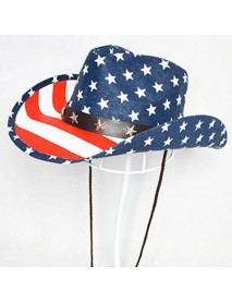 American Flag Panama Western Cowboy Hat Sailor Dance Hat Patriotic Jazz Hat