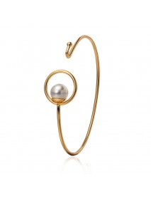 Classic Silver Gold Color Bracelet Pearl Charm Circle Cuff Bracelets & Bangles for Women