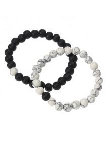 2 Pcs White Turquoise Handmade Energy Beaded Bracelet Couple Chain for Men Women
