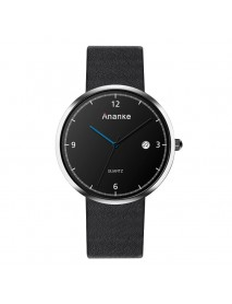 ANANKE Casual Style Calendar Men Watches Leather Strap Clock Quartz Watch