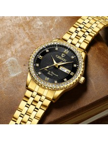 CHENXI 8215 Casual Style Men Wrist Watch Gold Case Full Steel Band Quartz Watch