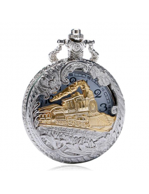 DEFFRUN Fashion Train Carved Openable Hollow Steampunk Pocket Watch Charming Necklace Quartz Watch