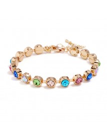 Zinc Alloy Colorful Rhinestone Beads Bracelet Classic Women Rose Gold Bracelet