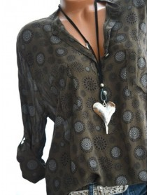 Bohemian Long Sleeve Floral Print V-neck Blouse