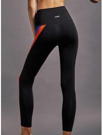 Women Rainbow Stripe High Elastic Waist Running Leggings