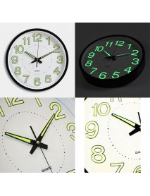 12 12 Inch Luminous Wall Clock Glow In The Dark Silent Quartz Indoor/Outdoor Green Noctilucent