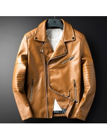 Mens Faux Leather Fashion Irregular Zipper Black Biker Jacket