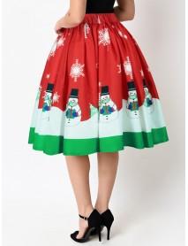 Christmas Casual Snowman Print High Waist Pleated skirts