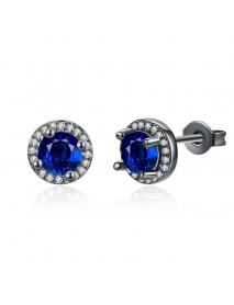 INALIS Round Diamond Ear Stud Gun Black Plated Earrings Jewelry Gift for Women