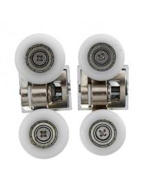 2pcs Zinc Alloy Dual Top Door Rollers Runners for Glass Sliding Shower Doors