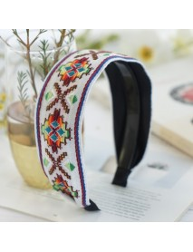 Fresh Bohemian Ethnic Style Hair Band Embroidered Cotton Wide Brimmed Hair Band Travel Home Leisure Hair Band