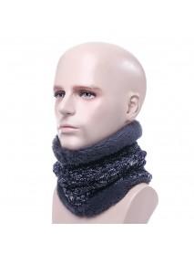 Men Women Winter Trendy Velvet Plus Woolen Knitting Neck Warmer Starry Stripes Couples Scarf